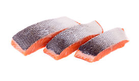 Fresh red salmon fillet slices. Isolated on a white background Stock Image