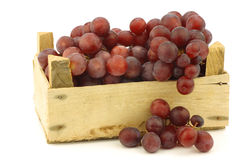 Fresh red seedless grapes on the vine. In a wooden crate on a white background Royalty Free Stock Image