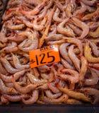 Fresh red shrimp at the market. Pile of fresh red shrimp at the La Nueva Viga market in Mexico City Stock Image