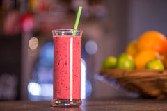 Fresh red smoothie with fruits Stock Photography