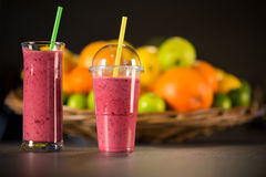 Fresh red smoothie with fruits Royalty Free Stock Image
