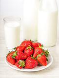 Fresh red strawberries in bowl Stock Photo