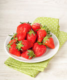 Fresh red strawberries in bowl Royalty Free Stock Photography