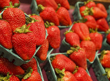 Fresh Red Strawberries at a Market Royalty Free Stock Images