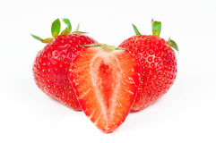 Fresh red strawberries. Over white background Stock Photo