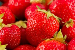 Fresh red strawberries in a pile. A close-up of fresh hand picked ripe red strawberries in a pile Stock Photos
