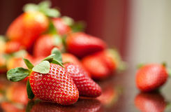 Fresh red strawberries on the table Stock Photos