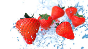 Fresh red strawberries touches the water flow Stock Photography