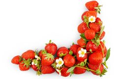 Fresh, red strawberries on white background, isolated Royalty Free Stock Photos