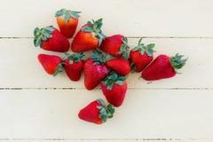 Fresh Strawberries on Yellow Background Stock Photography