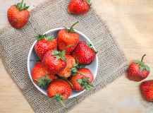 Fresh red strawberry in a bowl Stock Photos