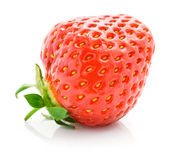 Fresh red strawberry with green leaf isolated royalty free stock image
