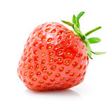 Fresh red strawberry with green leaf isolated stock images