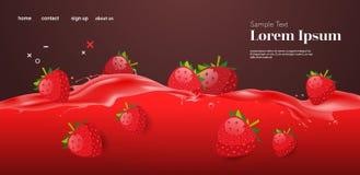 Free Fresh Red Strawberry Juice Liquid Splash Realistic Splashes Healthy Fruits Splashing Waves Horizontal Copy Space Stock Photography - 175793452