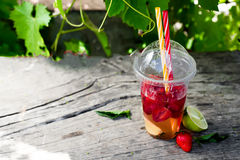 Fresh red strawberry lemonade royalty free stock photo