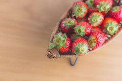 Strawberry on boat copy space Stock Image