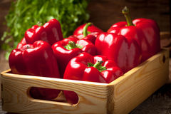 Fresh red sweet peppers. Stock Photo