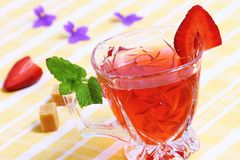 Fresh red tea with mint Royalty Free Stock Image