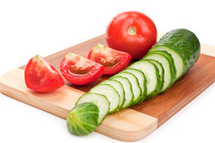 Fresh Red Tomato And Cucumber Stock Images