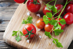 Fresh red tomato with green parsley Royalty Free Stock Photos