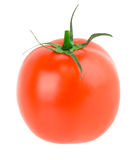 Fresh red tomato with green stem on white background Royalty Free Stock Photos