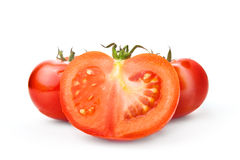 Fresh red Tomato and half slice on white background Royalty Free Stock Images
