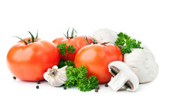 Fresh red tomato and mushrooms Stock Photo