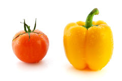 Fresh red tomato and yellow pepper Stock Photography