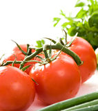 Fresh, red tomatoes. Close up on fresh tomatoes. Some green lettuce in background royalty free stock images