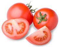 Fresh red tomatoes. On white background Royalty Free Stock Images