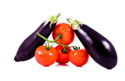Fresh red tomatoes on bunch and eggplants. On white background Stock Photography