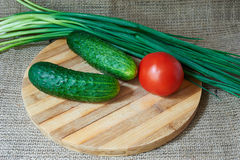 Fresh red tomatoes and cucumbers, green onions on a wooden tray Royalty Free Stock Photos