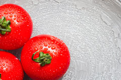 Fresh red tomatoes with drops on a plate. For sample texte on it Stock Photography