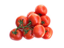 Fresh Red tomatoes on green branch isolated o Stock Photography