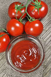 Fresh red tomatoes and ketchup Stock Image