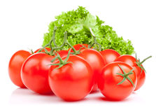 Fresh red tomatoes and lettuce Isolated Royalty Free Stock Photos
