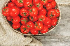 Fresh red tomatoes in a wicker basket on an old wooden table. Ripe and juicy cherry tomatoes with drops of moisture, gray wooden. Table, around a cloth of royalty free stock photography