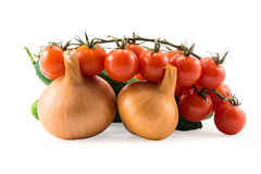 Fresh red tomatos,  cucumber and onions isolated on white Royalty Free Stock Photos