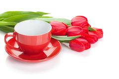 Fresh red tulips with coffee cup Royalty Free Stock Images