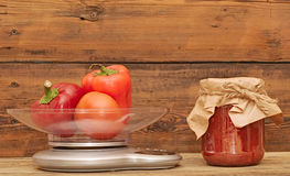Fresh red vegetables in scales Royalty Free Stock Photo