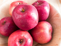 Fresh red wet apples with water drops Royalty Free Stock Image