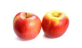 Fresh red-yellow apple on a white background. Red-yellow apple on a white background royalty free stock images