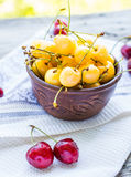 Fresh red and yellow cherry in a plate,healthy snack, summer, se Stock Image