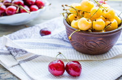 Fresh red and yellow cherry in a plate,healthy snack, summer, se Stock Photo