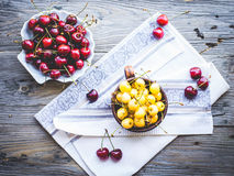 Fresh red and yellow cherry in a plate,healthy snack, summer, to Stock Photos
