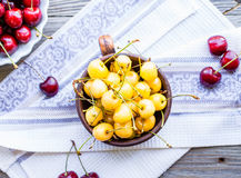 Fresh red and yellow cherry in a plate,healthy snack, summer, to Royalty Free Stock Photography