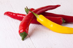 Fresh red and yellow chili peppers with spice Stock Image