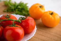 Fresh red and yellow tomatoes close up on a wooden board. At a white backgound Stock Photography