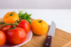 Fresh red and yellow tomatoes close up on a wooden board with a knife at a white table. Fresh red and yellow tomatoes close up on a wooden board with a knife at Royalty Free Stock Images