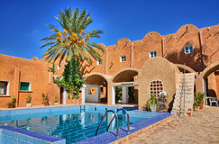 Fresh relaxing open swimming pool, Matmata, Sahara Desert, Tunis Stock Photos